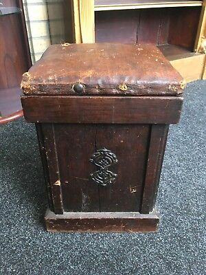 Small Antique 19th Century Wooden Victorian Leather Topped Oak Box