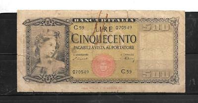 italy #80AS 1947 500 lire good circ OLD BANKNOTE PAPER MONEY CURRENCY BILL NOTE
