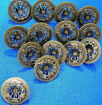Lotof 14 Antique Victorian Brass or Bronze Buttons