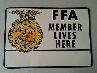 Vintage FFA MEMBER LIVES HERE Metal Sign - Future Farmers of America  NEVER USED