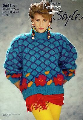 """~ Style Machine Knitting Pattern For Lady's Mohair Rose Sweater ~ 32"""" ~ 38"""" Bust"""