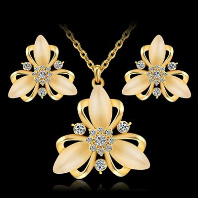 Fashion Wedding Bridal Gold Crystal Flower Necklace Earrings Jewelry Set Women
