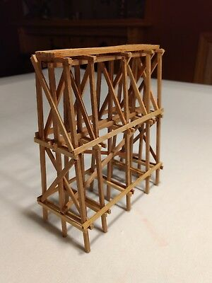 ON30 Scale Wood Trestle   Pier - Steam Era (for two tracks)  Redwood - Assembled
