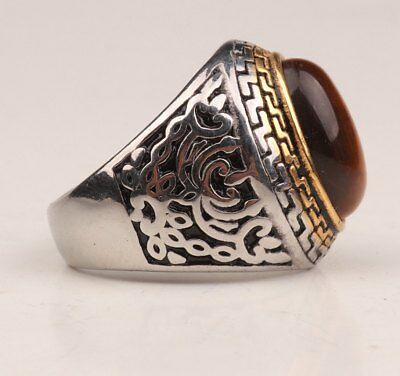Rare Chinese silver-plated opal zircon ring jewelry sacred old magic