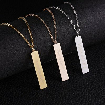 Stainless Steel Personalized Engraved DIY Custom Name Pendant Necklace Gift New
