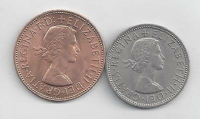 2 NICE COINS from GREAT BRITAIN - 1 PENNY & 2 SHILLINGS (BOTH DATING 1967)