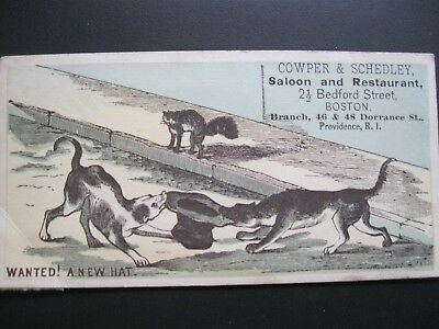 Victorian Trade Card Cowper & Schedley Saloon Dogs FIGHT over Hat  Fighting 49