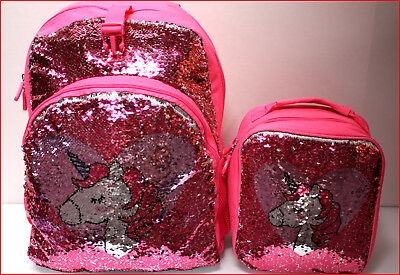"I LOVE UNICORNS Flipable SEQUINS Large 17"" BACKPACK + LUNCH BOX Bag 🌟NEW🌟"