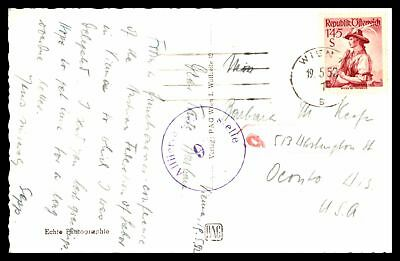Wien May 19 1952 Single Franked Censored Rppc Postcard To Oconto Wi Usa
