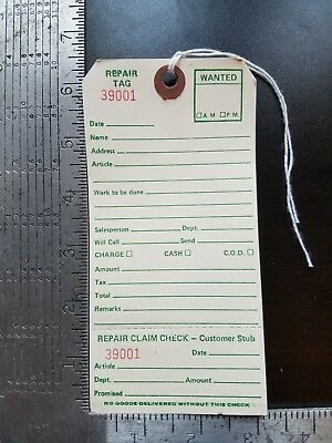 """Repair Tags 100 count 6-1/4"""" x 3-1/8"""" Reinforced Consecutively Numbered Manila"""