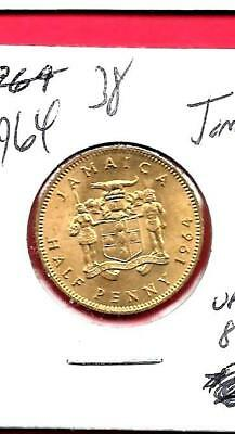 Jamaica Km38 1964  Unc-Uncirculated 1/2 Cent Old Vintage Coin