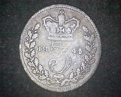 1845 Great Britain Three Pence Km#730 -92.5% Silver #16783