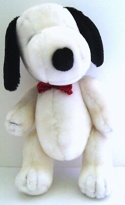 "Vintage Peanuts SNOOPY 12"" JOINTED PLUSH DOLL w/ POLKA DOT BOW TIE - Determined"