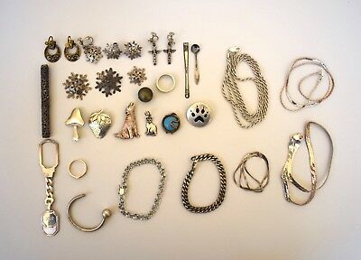Lot of Vintage Sterling Silver Jewelry Bracelets/Necklaces/Pins/Misc. Items