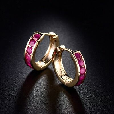 Womens Red Ruby Gemstone Huggie Earrings New Charm Fit Gold Filled Jewellery
