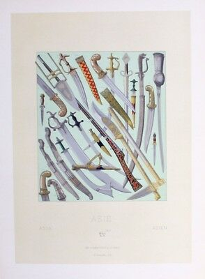 1880 - Waffen arms weapon Messer knife Asien Asia Lithographie lithograph