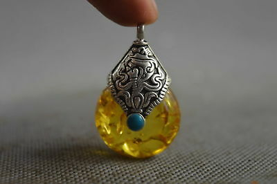 Collectable Handwork Decor Miao Silver Carve Flower Inlay Amber Lucky Pendant
