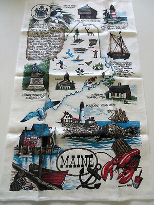 Vintage STATE OF MAINE SOUVENIER TEA TOWEL LINEN ~ LOBSTER ~ Kay Dee Screenprint