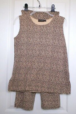 Ladies Two Piece Animal Print Outfit sz S/P Picadilly Fashion Brand Top & Pants
