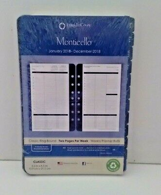 Jan - Dec 2018 Franklin Covey Weekly Planner Refill Monticello Classic