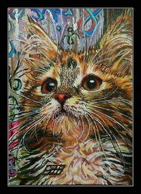 Cat acrylic miniature painting ACEO By Gavin Hunt. Original painted Sketch card.