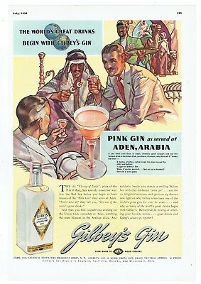 1938 Gilbey's Gin Pink Gin Aden Arabia Color Illustrated Full Page Ad!