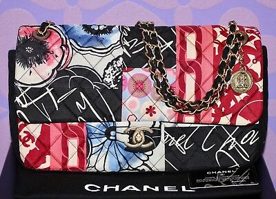 04e709b452e4 CHANEL Multicolor Mademoiselle PATCHWORK Silk Jersey Quilted Jumbo FLAP Bag  WOW