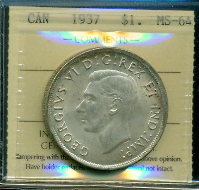 1937 Canada King George VI Silver Dollar ICCS MS-64 Certified XFL 454