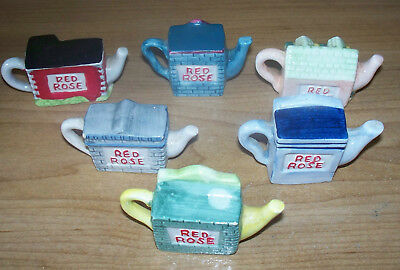 6 Red Rose Tea Ornaments in very good condition