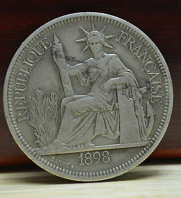 Antique 27 Gram Purity 900 Sterling Silver Solid Indochina Coin 1898s