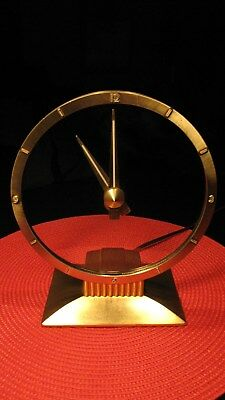Stunning Vintage Art Deco Jefferson Golden Hour Mystery Electric Clock - Works !