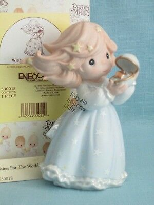 Precious Moments Wishes For The World 530018 Girl Holding Globe NIB 1st Issue