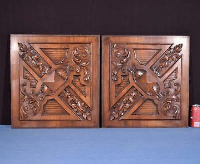 "*Pair of ""20 Tall French Antique Carved Panels in Walnut Wood"