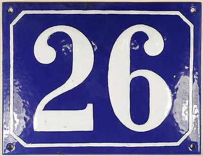 Large old blue French house number 26 door gate plate plaque enamel steel sign