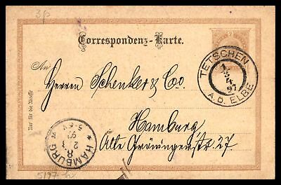 Tetschen Mar 1 1897 2 Brown Stationery Issue Card To Hamburg With Back Stamp