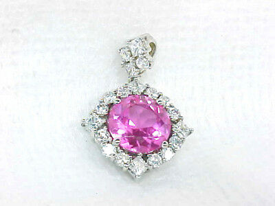 Lovely Sterling Silver Pink Ice Cubic Zirconia Sterling Silver Estate Pendant