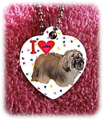 """Havanese Dog heart necklace 24"""" chain background of hearts"""
