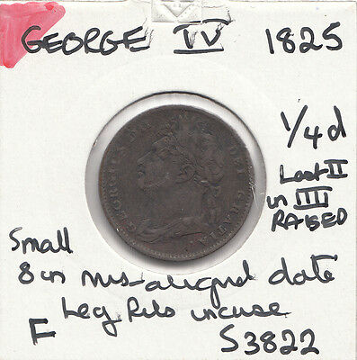 1825 George Iiii Farthing S3822 Many Errors See Description