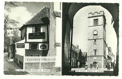 St. Albans -  photographic postcard of Ye Old Fighting Cocks and the Clock Tower