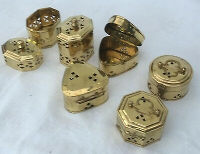 Brass Pomander Boxes Assorted Shapes & Sizes. Pack of 6