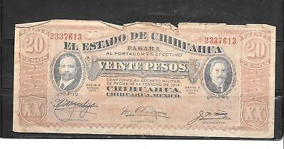 Mexico Chihuahua 1914 20 Peso Good Circ Old Banknote Paper Money Currency  Note