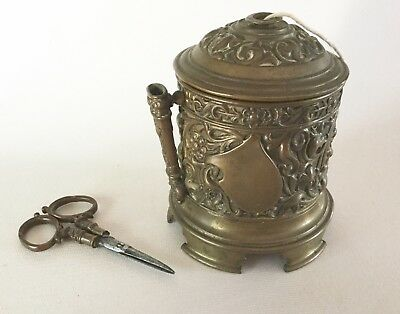 Antique Brass STRING HOLDER Box with SCISSORS Victorian France England Ornate