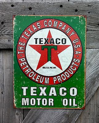 Texaco Motor Oil Petroleum Products Gasoline Weathered Tin Metal Sign Wall Decor