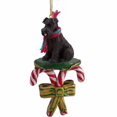Schnauzer Black Uncropped Ears Dog Candy Cane Christmas Tree ORNAMENT
