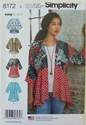 Simplicity 8172 Misses Easy To Sew Kimono Jacket Sewing Pattern Sz 4-26