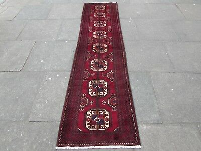 Old Traditional Hand Made Persian Oriental Wool Red Narrow Long Runner 258x64cm