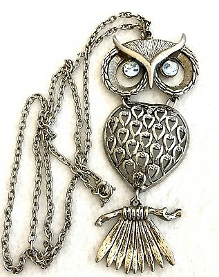 Vintage Articulated Owl Pendant Blue Glass Cabochon Eyes