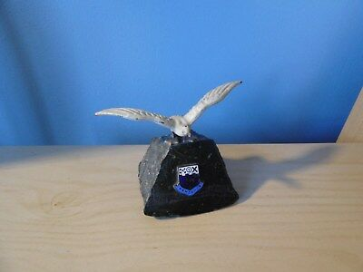 cold painted metal sea gull bird on piece of granit with enamel penzance plaque