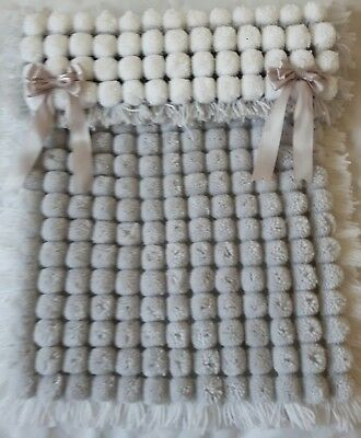 White And Silver Grey Pom Pom Baby Blanket Boy Or Girl  With Removable Bows