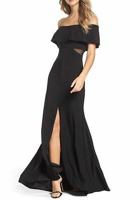 9569bcf5 NEW XSCAPE Black Mesh Inset Off the Shoulder Stretch Jersey Mermaid Slit  Gown 4